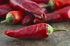 Dried cayenne red pepper Stock Photo