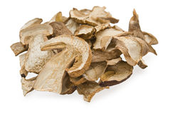 Dried cep mushrooms. Dried  cep mushrooms on white background Stock Image