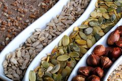 Dried cereal seeds and fruits Stock Image