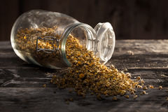Dried chamomile flowers on a wood table. Dried chamomile flowers and tea-strainer on a wood table Royalty Free Stock Photos