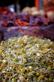 Dried chamomile at the spice market Royalty Free Stock Images