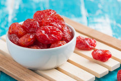 Dried Cherries Tomatoes Candied fruit. On rustic green wooden background Stock Photography