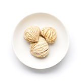 Dried chestnuts. On a white plate stock images