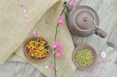 Dried chicken and rice tea in plate royalty free stock image