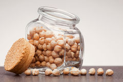 Dried chickpea in glass jar Royalty Free Stock Photos