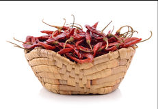Dried chili in the basket on white background Stock Photography