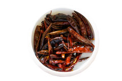 Dried Chili, Food ingredient. On white background, isolated Royalty Free Stock Images