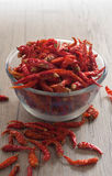 Dried Chili  in a glass bowl Royalty Free Stock Photos