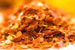 Dried chili macro. Macro of chili flakes stock images