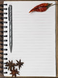 Dried chili pepper and anise on th cookbook. Dried chili pepper and anise stars on the vertical blank cookbook made of recycled paper royalty free stock images