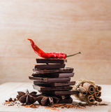 Dried Chili Pepper, Chocolate and other Spices Stock Photos