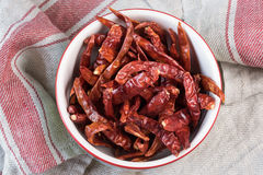 Dried chili peppers. In a bowl Stock Images