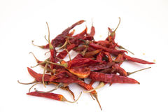 Dried chili peppers. On isolated white background Stock Photo