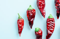 Dried chili peppers on a light blue background Royalty Free Stock Photo