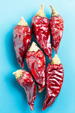 Dried chili peppers on a light blue background Royalty Free Stock Photos