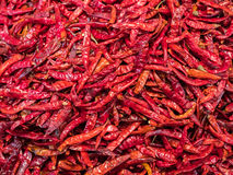 Dried chili peppers at a market Stock Photos