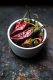 Dried chili peppers Stock Photo