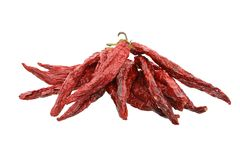 Dried Chili Peppers on White stock photo