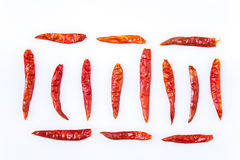 Dried chili peppers on white background Stock Photos