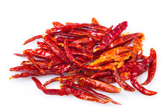 Dried chili peppers on white background Stock Image
