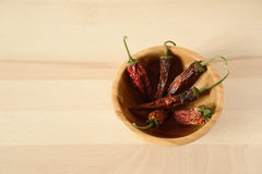 Dried chili peppers in a wooden bowl. Top view Royalty Free Stock Photos