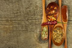 Dried chili peppers on a wooden spoon. Sale of spices. Advertising for sale. Different kinds of hot peppers. Stock Images