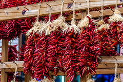 Dried Chili Ristras at Farmers Market Stock Photos