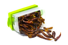 Dried Chili in Semi Transparent box,  Royalty Free Stock Images