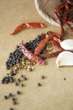 Dried chili and spices in sackcloth Royalty Free Stock Photos