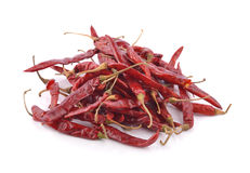 Dried chili on white background Royalty Free Stock Images