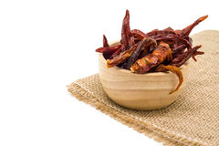Dried chili in wooden bowl isolated on white background Stock Photo