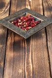 Dried chilies in a bowl. Dried red chili peppers in a bowl. Shallow dof royalty free stock photography