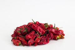 Dried Chilli. Dried chilis on white surface royalty free stock photography
