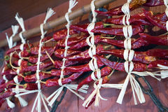 Dried chilli was tied up on a high pole Stock Photos