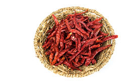 Dried chillies in the basket Royalty Free Stock Photos
