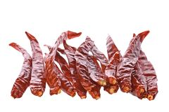 Dried Chillies Isolated Stock Photography