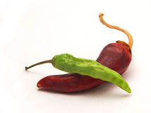 Dried chillies. Isolated picture of green and red chilli with some shadows Stock Photography