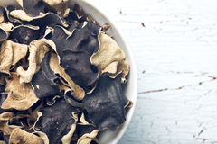 Dried chinese black fungus. Jelly ear Stock Photos