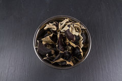 Dried Chinese Black Mushrooms, Auricularia polytricha, also call Stock Image