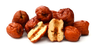 Dried chinese jujubes fruits. Red date on white background Stock Image
