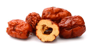 Dried chinese jujubes fruits. Red date on white background Royalty Free Stock Images