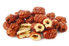 Dried chinese jujubes fruits on white Royalty Free Stock Image