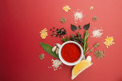 Dried chopped paprika, spicy herbs and various seasonings on a r Royalty Free Stock Photos