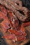Dried chorizo sausage.Selective focus Royalty Free Stock Image