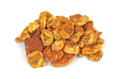Dried Cinnamon Banana Chips Overhead View Stock Photo