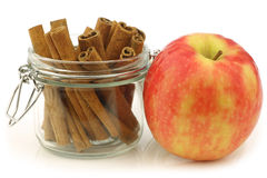 Dried cinnamon sticks in a glass jar Royalty Free Stock Photo