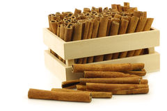 Dried cinnamon sticks in a wooden box Stock Photo