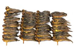 Dried clarias fishes in bamboo skewer Stock Photography