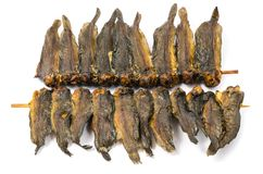 Dried clarias fishes in bamboo skewer Royalty Free Stock Photo