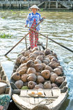Dried coconut boat dock on the river Royalty Free Stock Photo